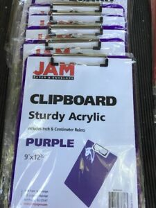 Jam Paper 9 X 13 Plastic Clipboards Purple Lot Of 5 Pieces