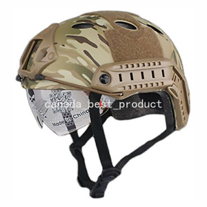 Tactical Airsoft Fast PJ Helmet w Eye Protection Rails NVG Mount Multicam CP $44.99