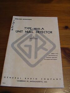 Genrad 1212 a Unit Null Detector Operating Instructions Manual
