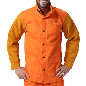 Ap 2530 Hybrid Fire Retardant Cotton Welding Jacket W Cowhide Leather Sleeves