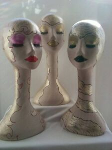 Hand Painted Female Mannequin Heads Displays set Of 3 Styrofoam Manniquin