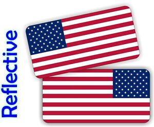 (2) REFLECTIVE American Flag Hard Hat Stickers <> Motorcycle Helmet Decals Flags
