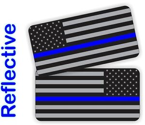 REFLECTIVE Thin Blue Line Police American Flag Hard Hat Stickers  Helmet Decals