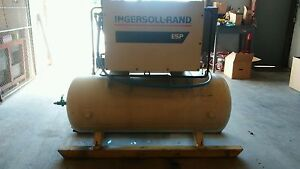 Used 15 hp Ingersoll Rand Open Design 120 Gallon Tank Mounted 230 460v 3 Phase