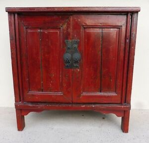 19th C Chinese Coromandel Red Peasant Cabinet W Bold Iron Pulls