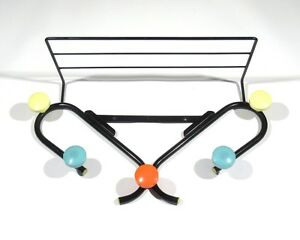 Vintage French Coat And Hat Rack Five Colored Hooks Shelf 1960 S