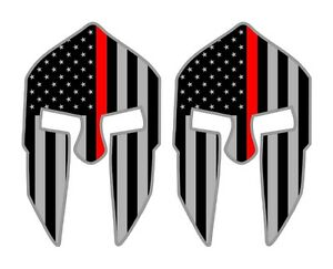 Thin Red Line Spartan Flags Hard Hat Stickers Firefighter Helmet Decals Labels