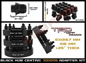 4 Toyota 6x5 5 1 25 Black Hub Centric Wheel Spacers 24pc Black Mag Lug Nuts