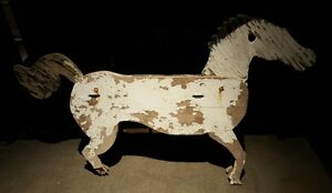 Antique Folk Art Wood Trade Sign Horse Original Paint