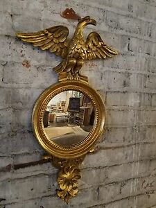 Antique Handcarved Gilt Italian Regency Mirror With Eagle Federal Style