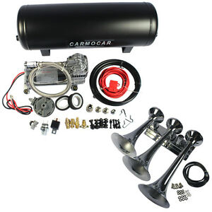 Loud 152db 3 Trumpet Train Air Horn With 3 Gal Tank 200psi Compressor Truck Boat