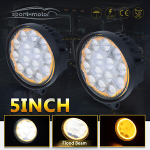 2x Amber 5inch 60w Led Work Light Offroad Round Driving Fog Pods 4wd Ute Tractor