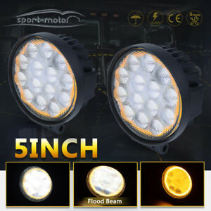 2x 5inch Amber Halo Led Pods Fog Lights Round For Jeep 4wd Atv Suv Offroad 4300k
