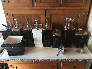 Syrup Dispensers Dipping Soda Shop Stainless Steel Top Vintage Diner Ice Cream