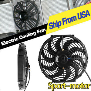 2pcs 12inch 2150cfm Pull Push Engine Bay Slim Electric Cooling Radiator Fans 12v