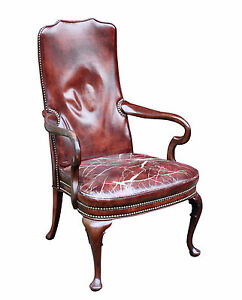 Vintage Distressed Burgundy Leather Mahogany Arm Chair Fabulously Distressed
