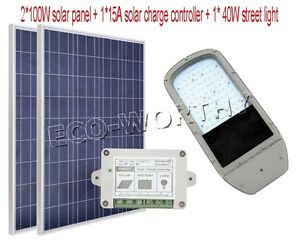 40w Led Street Road Light System 2pcs100w Solar Panel W 15a Charge Controller