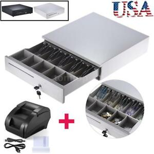 Heavy Duty Electronic Cash Drawer Box Case 58mm Thermal Dot Receipt Printer E2k7