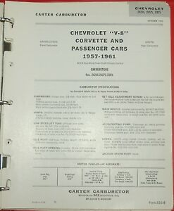 1957 61 Original Carter Wcfb 2x4 Chevy Corvette Data Spec Sheet 2626s 2627s