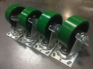 6 X 2 Swivel Polyurethane Caster With Brake Set Of 4 1000lb each tool Box