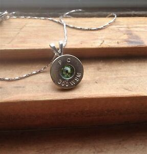 Silver 300 Bullet Casing Necklace with Aug. Swarovski Birthstone