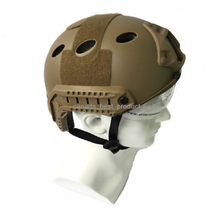 Emerson Tactical Airsoft Paintball Fast Helmet PJ Type w Protective Goggles DE