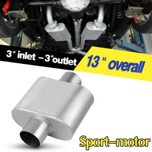 Exhaust Muffler 3 Inlet Outlet Center To Center Single Chamber Race Performance