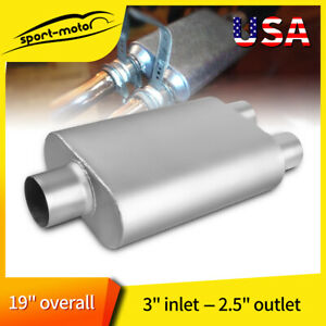 3 In 2 5 Dual Outlet C O Performance Chambered Race Muffler 13 Oval Body Long