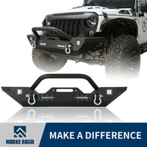 Opar Trail Front Bumper Built in 4 Led Light For 07 18 Jeep Wrangler