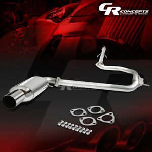 4 Round Muffler Tip Catback Race Exhaust System For 88 91 Honda Civic 4dr Sedan