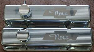 Custom Machined Usa Chevy Nova Ghost Bow Tie Tall Valve Cover Set Roller Rockers