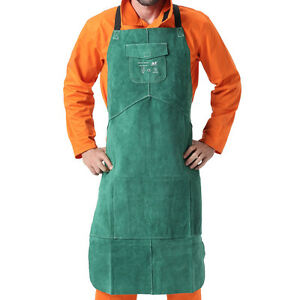 Ap 6105 New Green 42 And 36 Fire Resistant Cowhide Leather Welding Bib Apron