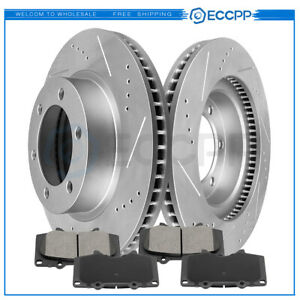 Front Brake Disc Rotors Ceramic Pads For 4runner Tacoma Fj Cruiser Drill Slotted