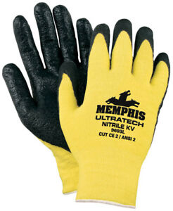 Memphis 9693s Kevlar Yellow black Nitrile Coated Gloves Size Small 12 Pair