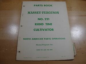 Massey Ferguson No 221 Rigid Tine Cultivator Parts Catalog Manual Book 1960