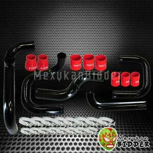 Fmic Black Intercooler Piping Red Couplers Ssqv Bov Flange Kit For Acura Integra