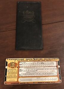 Cat Caterpillar Tractor Earthmoving Calculator Slide Rule Vintage 1945 Rare