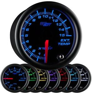 52mm Glowshift Black 7 Color 1500 F Pyrometer Egt Gauge Gs C708 1500 Glow Shift