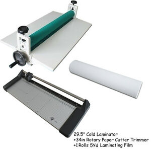 29 5 Cold Laminator 34in Paper Cutter 1 Roll Laminator Film Cold Laminator Kit