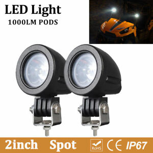 2x 2inch 10w Round Led Pods Light Dirt Bike Bike Utv Spot Driving Fog Work Lamp