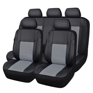 Carpass 11 Pieces Universal Fit Pu Leather Black And Gray Auto Car Seat Covers