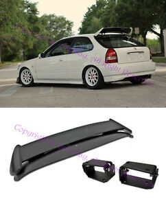 For 96 00 Civic Ek9 3dr Type R Style Spoiler W Adjustable Black Tilt Brackets