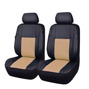 Car Seat Covers Black With Beige New Arrival Universal Pu Leather Two Front Sets