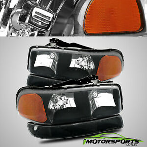 1999 2006 Gmc Sierra Yukon Xl Black Headlights Bumper Signal Lights Pair