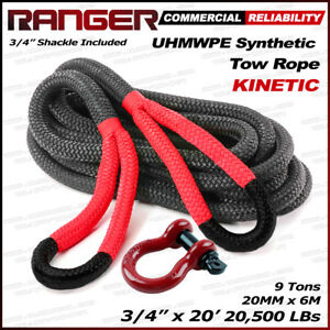 Ranger 3 4 X 20 Commercial Reliability Kinetic Recovery Tow Rope 20 000 Lbs