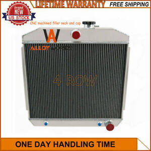 4 Row Core Aluminum Radiator For 1955 1957 Chevy Bel air one fifty two ten V8