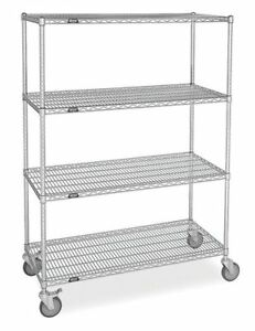 Flat Shelf Wire Cart 24 In W Zoro Select Ss 2448 74lzf