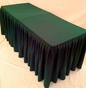 5 Ft Fitted Polyester Double Pleated Table Skirting Cover W top Topper Green