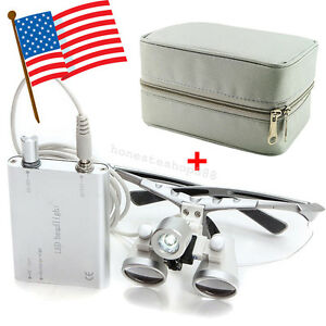 Dental Loupes 2 5x 420mm Surgical Medical Optical Glass Head Light Carry Case