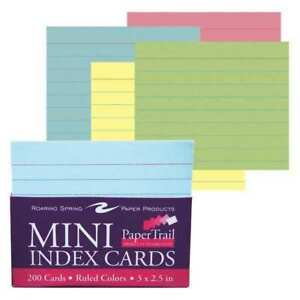 36pk Mini Trayed Index Cards 3 x2 5 200 Sht In 4 Colors